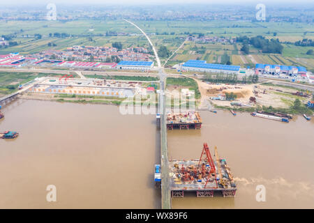 aerial view of bridge construction site - Stock Photo