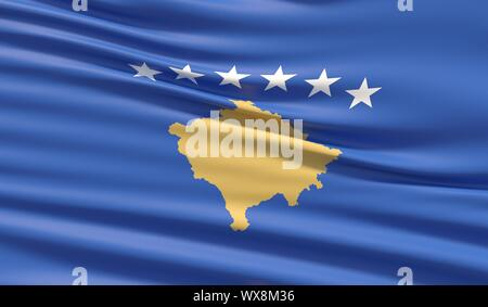 Flag of Kosovo. Waved highly detailed fabric texture. 3D illustration. - Stock Photo