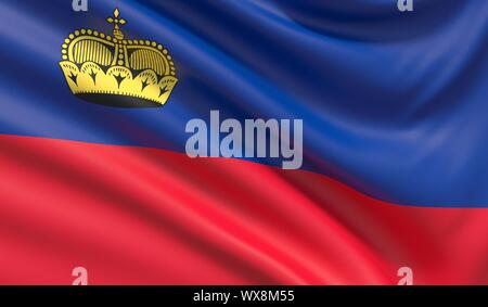 Flag of Liechtenstein. Waved highly detailed fabric texture. 3D illustration. - Stock Photo