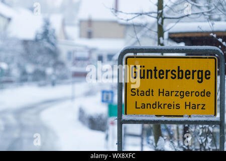 Güntersberge in the Harz Mountains Winter impressions - Stock Photo