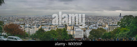 PARIS, FRANCE - 02 OCTOBER 2018: Panorama of Paris , view from Sacre Sour cathedral. - Stock Photo