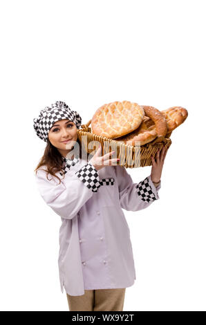 Young female baker isolated on white - Stock Photo