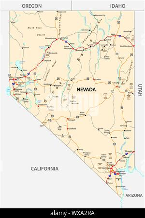 Nevada road map with interstate US highways and federal highways - Stock Photo