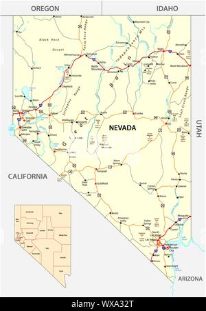 Nevada streets and administrative map with interstate US highways and main roads - Stock Photo