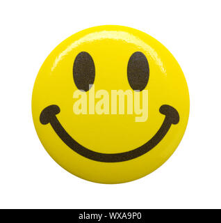 Yellow Happy Face Emoji Button Isolated on White. - Stock Photo