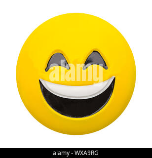 Yellow Emoji Face with Smile Isolated on White. - Stock Photo