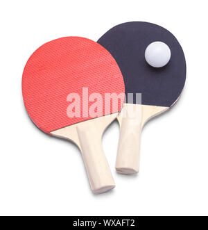 Red and Black Ping Pong Paddles with Ball Isolated on White. - Stock Photo