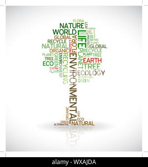 Ecology - environmental poster made from words in the shape of green tree - Stock Photo