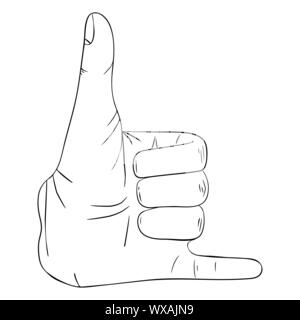 Hand gesture with transparent phone sign - Stock Photo