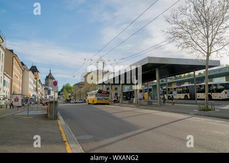 Schaffhausen, SH / Switzerland - 22 April, 2019: train and bus station in Schaffhausen with people c - Stock Photo