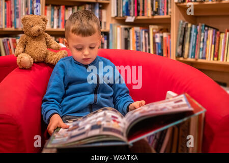 Little boy reading book in a bookstore - Stock Photo
