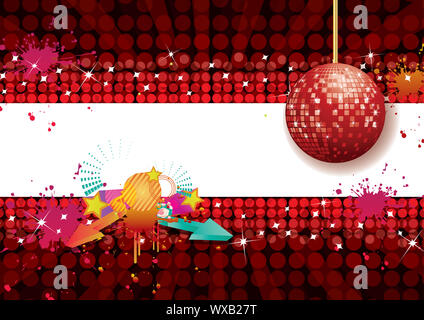 Shiny abstract party design with disco ball, vector illustration - Stock Photo