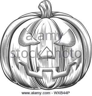 Vintage halloween pumpkin - Stock Photo
