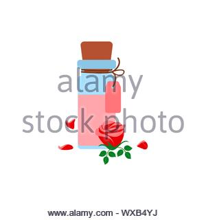 aromatherapy, rose essential oil in a bottle, red rose flower and petals on a white background - Stock Photo