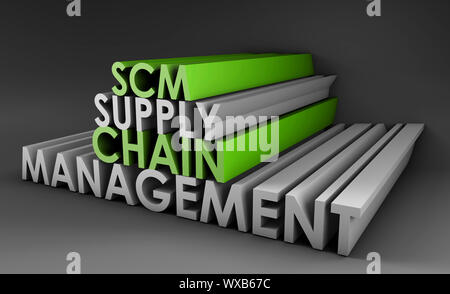 Supply Chain Management SCM Industry in 3d - Stock Photo
