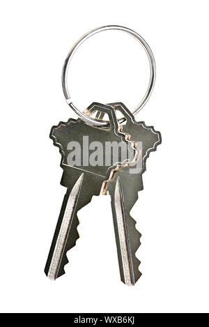 Two house keys on keyring isolated over white background - Stock Photo