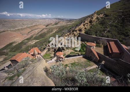 hill monastery in georgia - Stock Photo