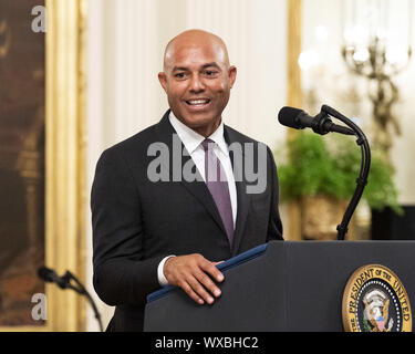 Washington, DC, USA. 16th Sep, 2019. September 16, 2019 - Washington, DC, United States: MARIANO RIVERA, former New York Yankees pitcher, speaking at the presentation of the Presidential Medal of Freedom to him in the East Room of the White House Credit: Michael Brochstein/ZUMA Wire/Alamy Live News - Stock Photo