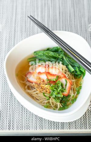 BBQ Pork egg Noodle - Stock Photo