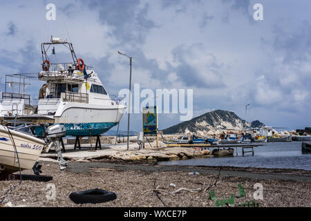 Fishermen boats in dock for repairs - Stock Photo