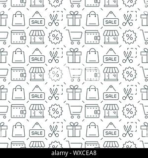 Shopping vector seamless pattern. Vector eps8 format - Stock Photo