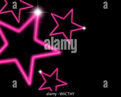 Glowing pink neon stars on black background - Stock Photo