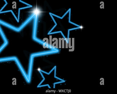 Glowing blue neon stars on black background - Stock Photo