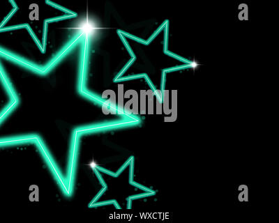 Glowing green neon stars on black background - Stock Photo