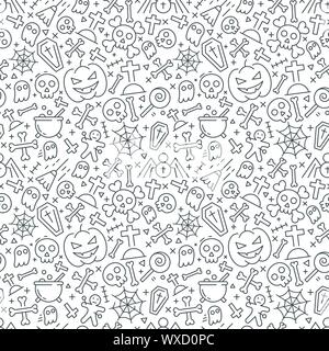 Vector Halloween seamless pattern. Black icons of skull, spider, web, pumpkins. - Stock Photo