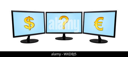 three computer monitor with money sign on a white background - Stock Photo