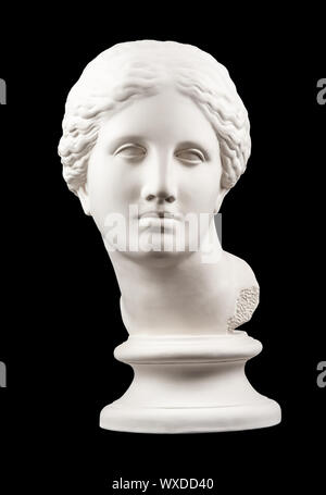 Gypsum copy of ancient statue Venus head isolated on black background. Plaster sculpture woman face. - Stock Photo