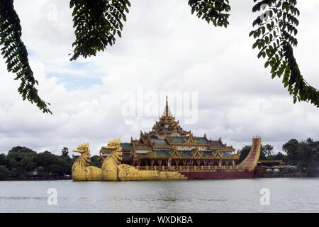 Karaweik Palace on  Kandawgyi Lake - Yangon, Myanmar - Stock Photo