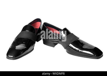 black male leather shoes isolated on white - Stock Photo