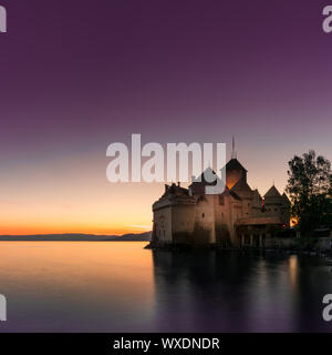 Montreux, VD / Switzerland - 31 May 2019: the historic Chillon Castle on the shores of Lake Geneva a - Stock Photo