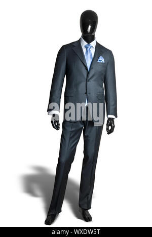 business dark grey suite on mannequin isolated on white - Stock Photo