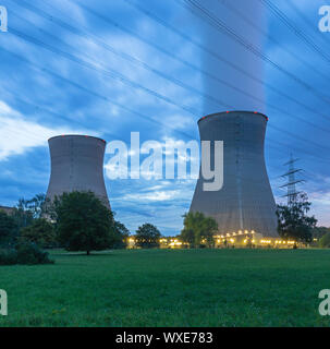 Nuclear power plant in evening light - Stock Photo