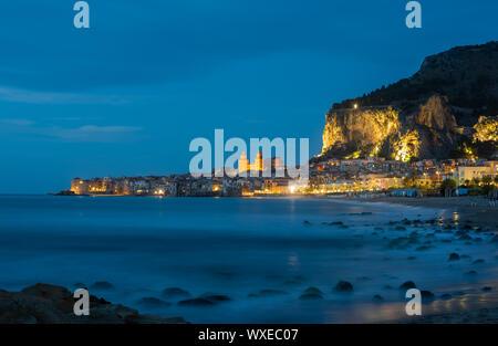 Cefalu, medieval village of Sicily island, Italy - Stock Photo