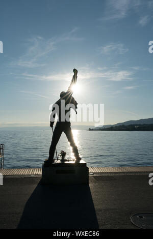 Montreux, VD / Switzerland - 31 May 2019: the Freddie Mercury Memorial Statue on the shores of Lake - Stock Photo