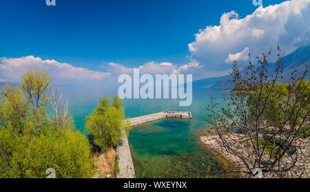 Landing in Sveti Naum on the shore of Lake Ohrid - Stock Photo
