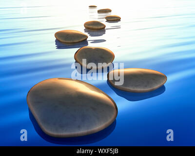 An image of beautiful step stones in the blue ocean sunset - Stock Photo