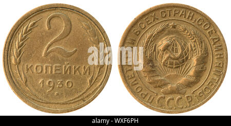 The Soviet Union coin two copecks on white - Stock Photo