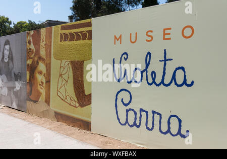 SANTIAGO, CHILE - JANUARY 23, 2018: Entrance to of the Violeta Parra Museum, dedicated to one of the most important singers, poets and artists that Ch - Stock Photo