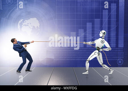 Competition between humans and robots in tug of war concept - Stock Photo