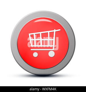 Icon series : red round Purchasing cart button - Stock Photo