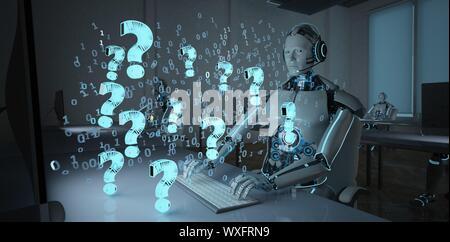 Humanoid Robot Call Center Question - Stock Photo