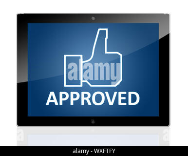 Tablet PC with a hand icon and word Approved on blue background - isolated on white background - Stock Photo