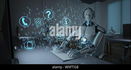 Humanoid Robot Call Center - Stock Photo