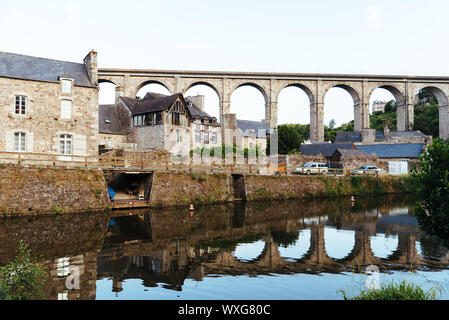 View of the viaduct of Dinan over river Rance and the harbour, French Brittany - Stock Photo