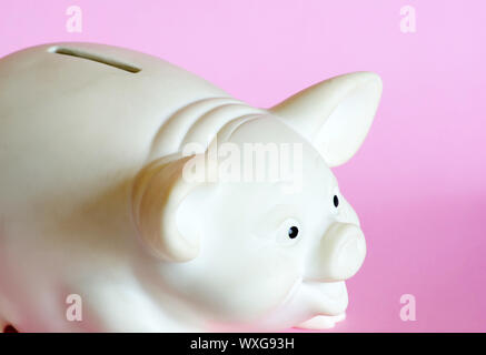 white piggy bank  isolated on white background - Stock Photo