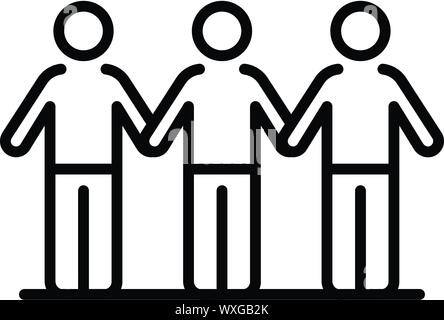 Protest people line icon. Outline protest people line vector icon for web design isolated on white background - Stock Photo